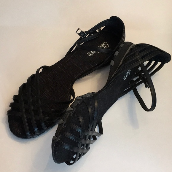 Womens Skechers Black Flat Sandals Sz